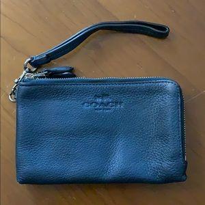 Coach leather double zip wristlet